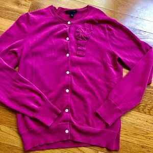 Lands End pink cardigan sweater